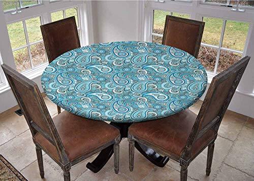 Mantel con bordes elásticos, mantel de mesa de café, azul claro, elementos tradicionales de cachemira persa con motivos torcidos, azul claro y negro