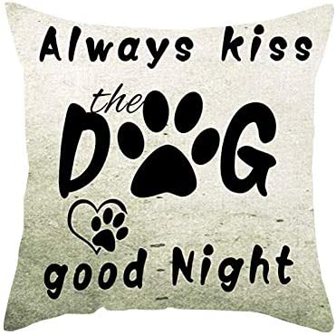 FJPT Throw Pillow Cover Paw Prints Funny Quote Words Always Kiss The Dog Good Night Beige Cotton product image