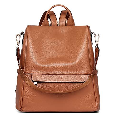 CLUCI Women Backpack Purse Fashion Leather Large Designer Travel Bag Ladies Shoulder Bags Palm Pattern Brown