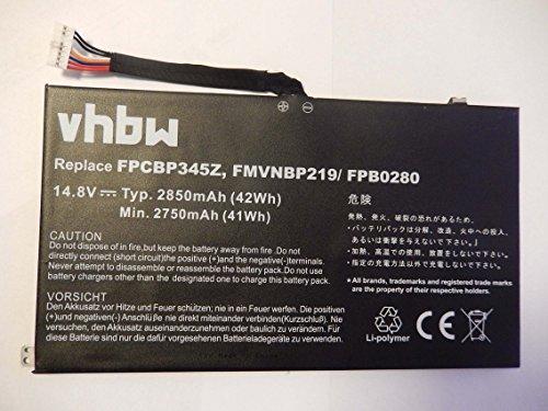 vhbw Batterie Compatible avec Fujitsu LifeBook UH572 Ultrabook Laptop (2850mAh, 14.8V, Li-Polymère)