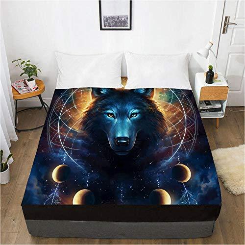 lhmlyl Ajustable Encimera Lobo Digital del Protector del colchón de la sábana de la impresión 3D Sueño 004-Negro-F_El 198x203x40cm