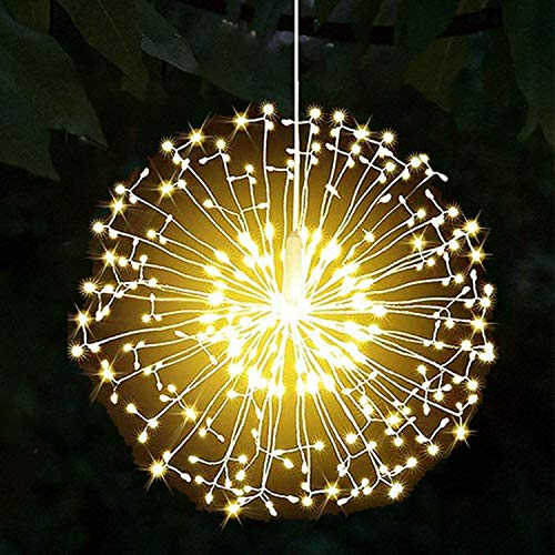 Yowin Firework Lights 198 LED Copper Wire Starburst Lights 8 Modes Battery Operated Dimmable Fairy String Lights with Remote,Waterproof Hanging Lights for Christmas Indoor Outdoor Decoration