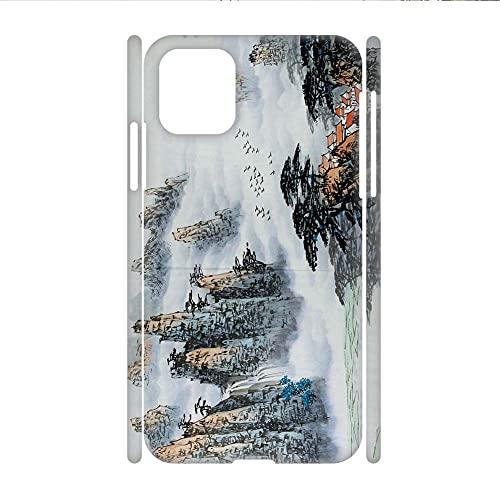 Teléfono Conchas Duro Plástico Rígido Individualidad Hombres Compatible para Apple iPhone 12Mini Tener con Asian Chinese Painting 2
