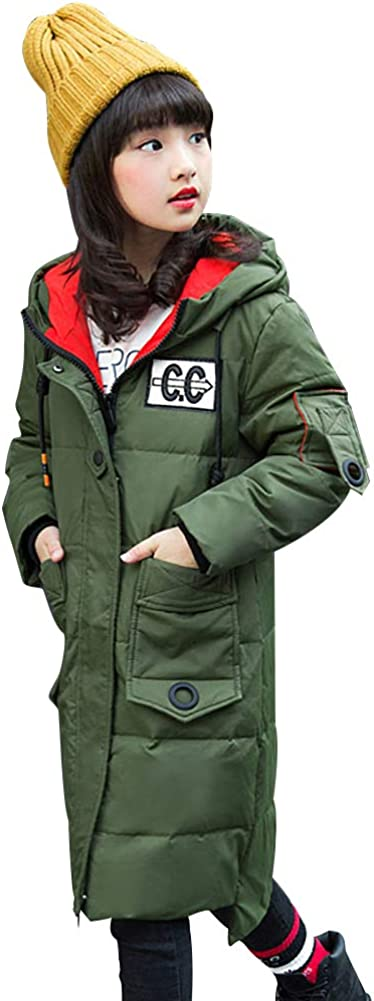 SITENG Girls' Kids Winter Hooded Down Coat Puffer Jacket Parka Padded Overcoat for Big Girls Mid-Long