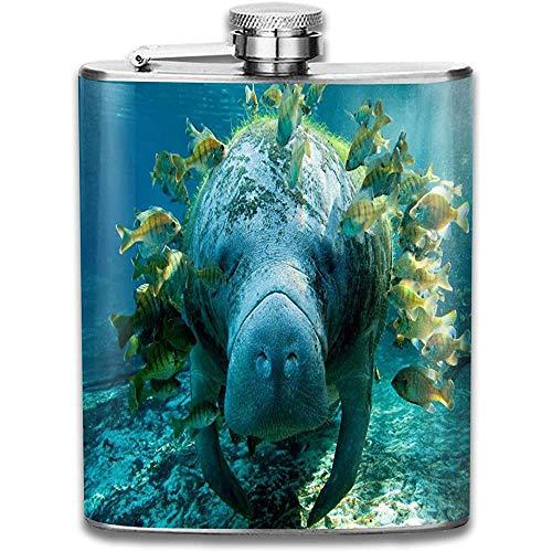 N/A Unterwasser-Flachmann aus Büffel und Fisch für langlebigen Edelstahlkolben mit U-förmigem Körper 7 oz