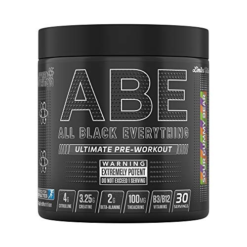 Applied Nutrition ABE - All Black Everything Pre Workout Energy, Increase Physical Performance with Citrulline, Creatine, Beta Alanine, Caffeine Vitamin B Complex, 315g, 30 Servings (Sour Gummy Bear)