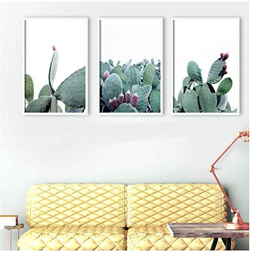 ZHANGSHAIFFBH Canvas Schilderij Nordic Decoration Home Art Posters en Prints Cactus Green Plant Muurfoto's voor Slaapkamer