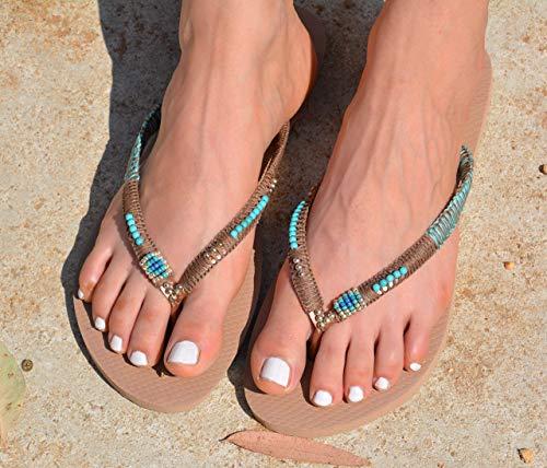 Flip Flops for Women, Turquoise & Silver Boho Hippie Vegan Flat Beaded Sandals, Flip Flops, Handmade Shoes, Size 5-12