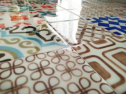 Azulejos Adhesivos con Relieve. Pack de 8 Unidades. Medida Exclusiva en Amazon. Tambien se Puede Utilizar como cenefas para Cocina (VINTAGE2)