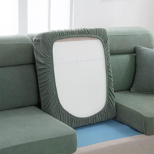 Fundas de cojín de sofá para asiento de sofá, fundas de cojín de forro polar elástico, fundas de cojín de repuesto para cojines individuales (gris, verde, grande-S)