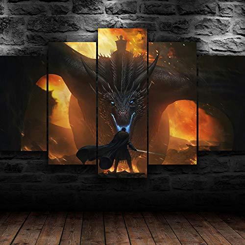 AWER Tela Wall Art Game of Thrones Night King Drag Poster Decorazioni per La Casa Cinque 5 Tele Quadri modulari Wall Art Fotografia Dipinti Regalo Moderno con Cornice