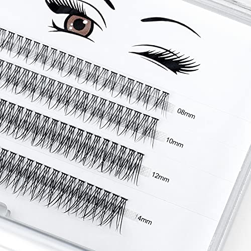 LANKIZ Individual Lashes, 12 Root Fish-tailed Cluster Lashes for DIY Eyelash Extension, 0.07mm 8-14mm Mix Faux Mink False Lash Extensions