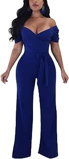 Women Sexy Off Shoulder Ruffle Bodycon Flare Bell Pants Jumpsuit Romper Clubwear