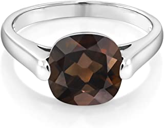 925 Sterling Silver Brown Smoky Quartz Women Ring (3.07 Ct Cushion Checkerboard, Available 5,6,7,8,9)