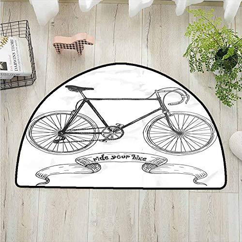 DESPKONMATS Bicycle PolyesterSemi-CircularRug,Ride Your Bike Lettering with Nostalgic Mountain Bike Hand Drawn Sketchy Printing Carpet,Entrance Hall Kitchen Bedroom Bathroom Washable Machine
