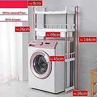 浴室タワー棚 2階は洗濯機の収納ラック、ステンレス鋼のバスルームラック、調節可能な多層収納ラック、ランドリールーム、トイレの上にあります。 (Color : White, Size : With drawer)
