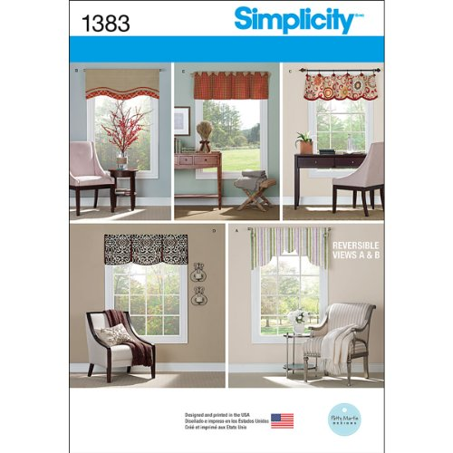 Simplicity 1383 Schnittmuster für Fenstervolant, 91,4 cm bis 101,6 cm