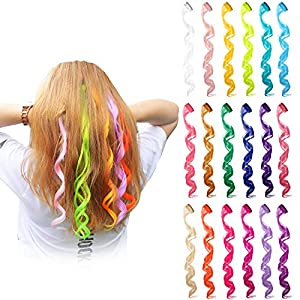 24 Pieces 24 Colors Multi-Colors Clip on in Hair Extensions Hair Pieces Colored Party Highlights DIY Hair Accessories Extensions 20 Inches Long Hair for Girls Women (24 Colors, Curly Wave)