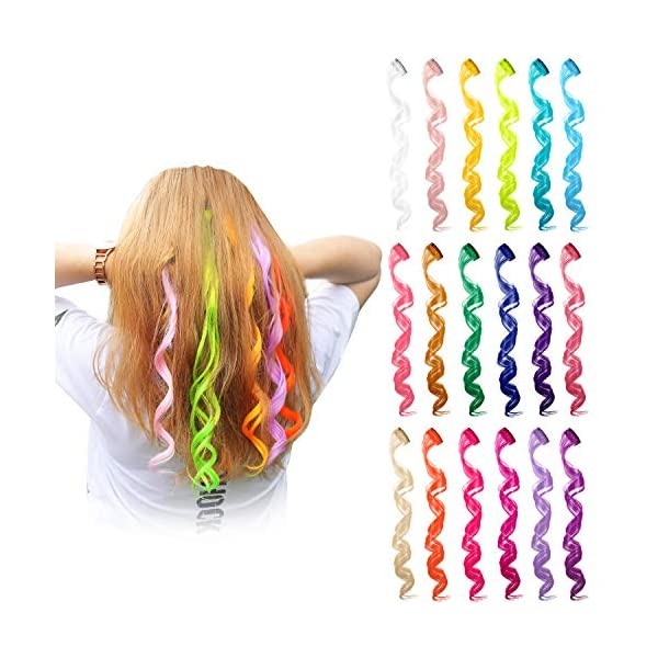 24 Pieces 24 Colors Multi-Colors Clip on in Hair Extensions Hair Pieces Colored Party Highlights DIY Hair Accessories Extensions 20 Inches Long Hair for Girls Women (24 Colors, Curly Wave) 3
