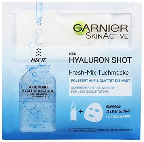Garnier SkinActive Hyaluron Shot Fresh-Mix Tuchmaske, Glättende Gesichtsmaske enthält Serum mit Hyaluronsäure (3 Stück)
