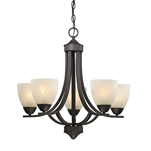 Progress Lighting P4391-09 5-Light Chandelier with Etched Alabaster Glass Shades and Center Column Brushed Nickel