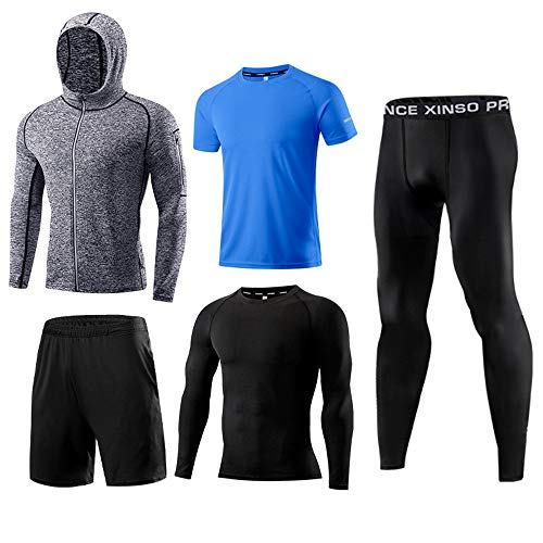 NestYu Mens Stretch Breathable Fast Dry Patched Jammer Baselayer Leggings