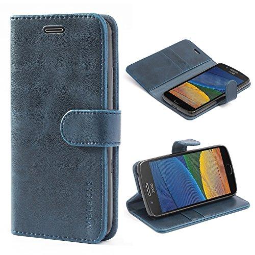 Mulbess Handyhülle für Motorola Moto G5 Hülle Leder, Motorola Moto G5 Handy Hüllen, Vintage Flip Handytasche Schutzhülle für Motorola Moto G5 Hülle, Navy Blau