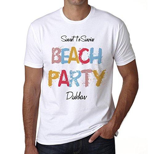 Dukhan, Beach Party, Fiesta en la Playa, Camiseta para Las Hombres, Manga Corta, Cuello Redondo, Blanco
