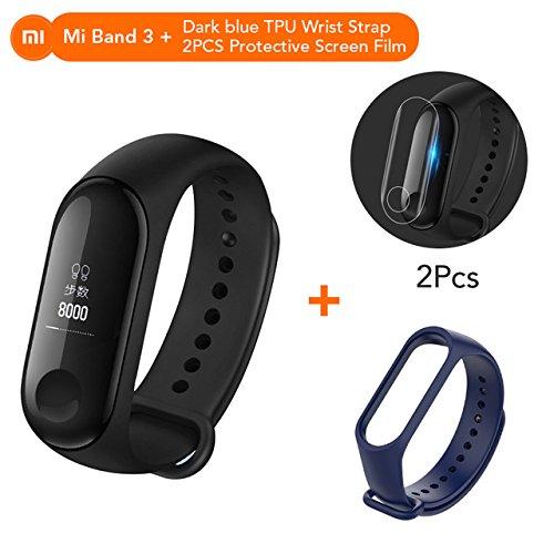 Mi Banda 3Almacenamiento Xiaomi MiBand–Rastreador de Fitness Monitor de frecuencia Cardíaca Pantalla OLED de 2cm Touchpad Bluetooth 4.2para Android iOS
