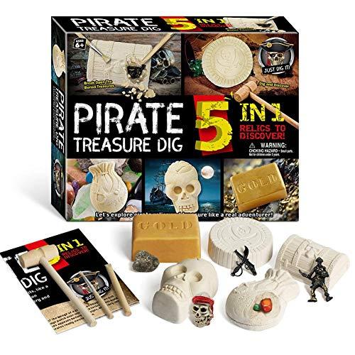 N/I Kids Dig Toy Kit, Fossil Dig Kit, Kids Digging Excavation Kit Educational Toy para niños, Gemas, Incluidas Perlas y fósiles, Regalo Stem para niños y niñas Arqueología Paleontología