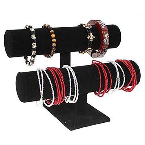 Jonc Porte Bijoux Bracelet Montre Velours à 2 Rangs Noir