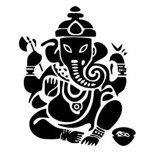 car Sticker 15cm 13cm Personality car Sticker Elephant Buddha Statue Indian car Decoration Waterproof Sunscreen (Color : Black)