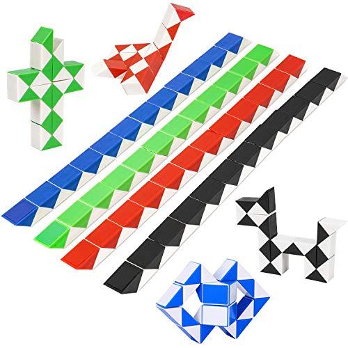 Puzzle de Magia Serpiente 8Pcs,Juguetes de Rompecabezas de Snake 24 Bloques,3D Mini Magic Speed Cube juego Twister,Cuñas Regla Mágica Puzzle Educativos Toys para Niños Fiestas Favores Llenadores
