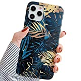 ooooops Compatible with iPhone 12/12 Pro Case for Men Women, Dark Blue Monstera Golden Leaves, Soft Bumper Slim Full-Body Protective Cover Phone Case Designed for iPhone12 12Pro 6.1''(Palm Leaves)
