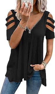 OrientalPort Maglietta da donna a maniche corte casual, con scollo a V, con scollo a V, estiva