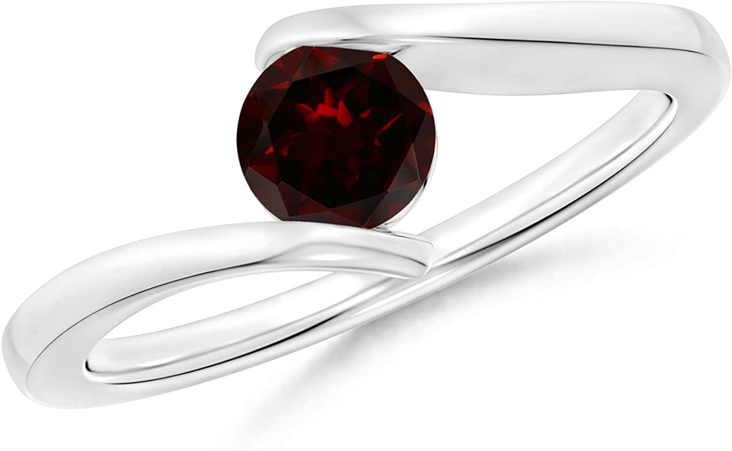 Bar-Set Solitaire 5mm Round Natural Garnet Bypass Ring for Women in 14K White Gold Sizes 3 to 13