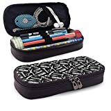 QiangQ trousse Barbershop Image Design Leather Pencil Case Pencils Highlighters Bag for Student Boys Girl Adults
