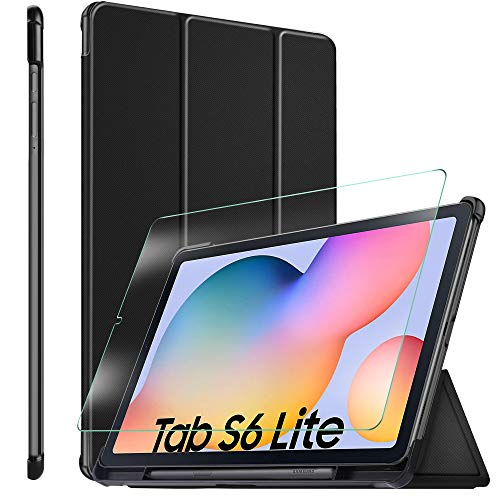 ELTD Etui+ Verre Trempé Film [Combinaison] pour Samsung Galaxy Tab S6 Lite, Cover Housse Etui Coque + 9H, 2.5D Verre Trempé Film pour Samsung Galaxy Tab S6 Lite 10.4 Tablette,(Noir + 1 Pack)