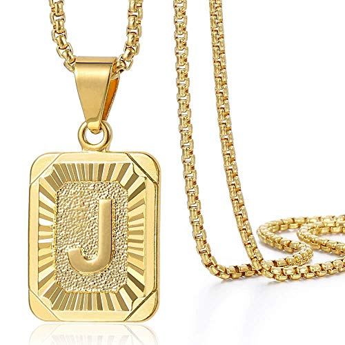 Trendsmax Initial Letter Pendant Necklace Mens Womens Capital Letter Yellow Gold Plated J Stainless Steel Box Chain 22inch