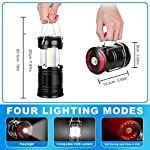 Akmona camping lantern, 4 pack with 16 batteries high lumens led lanterns battery powered, suitable for hurricane… 11 super bright & large area brightness. 360-degree covered lighting with top spotlight provides high visibility to meet large area brightness. 4 lighting modes. Collapsible cob led lantern. Flashlight. Red warning light(strobe & sos light). The lantern is a vital filed survival tool and camping accessories. Long last run time. Using 3*aa batteries (included) as power supply enables it can be continuously used a long time, which brings you to light for a long time to fulfill your needs. Energy-saving and suitable for camping, power outage, night fishing & hunting, emergency usage, hurricane and survival kit, etc. Novel design, metal handle, and magnet base. Collapsible design (by pushing and pulling the handle) can turn on or close the lantern. A metal portable lantern can be used as a flashlight, vertical lift as a lantern, and can hang it on trees or others. 3 strong magnets on the base can be adsorbed on any metal surface to free your hands.