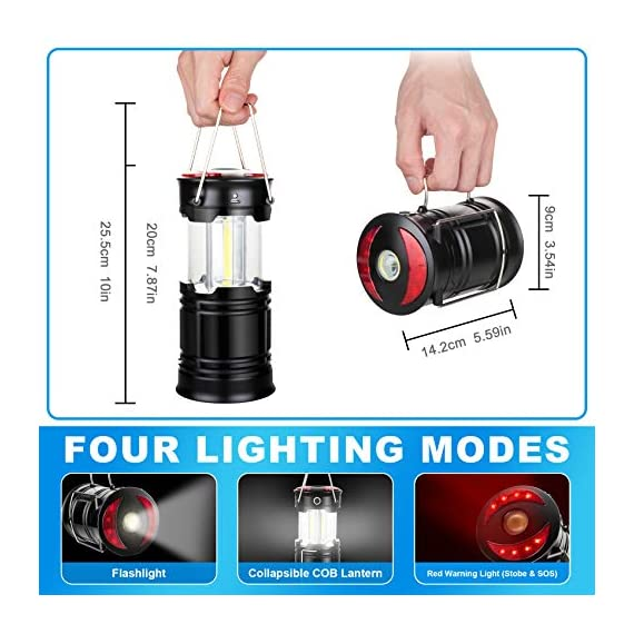 AKMONA Camping Lantern, 2 Pack with 8 Batteries High Lumens LED Lanterns Battery Powered, Suitable for Hurricane… 5 Super Bright & Large Area Brightness. 360-degree covered lighting with top spotlight provides high visibility to meet large area brightness. 4 lighting modes. Collapsible COB LED Lantern. Flashlight. Red Warning Light(Strobe & SOS light). The lantern is a vital filed survival tool and camping accessories. Long Last Run Time. Using 3*AA batteries (Included) as power supply enables it can be continuously used for a long time, which brings you to light for a long time to fulfill your needs. Energy-saving and suitable for camping, power outage, night fishing & hunting, emergency usage, hurricane and survival kit, etc. Novel Design, Metal Handle, And Magnet Base. Collapsible design (by pushing and pulling the handle) can turn on or close the lantern. A metal portable lantern can be used as a flashlight, vertical lift as a lantern, and can hangit on trees or others. 3 Strong magnets on the base can be adsorbed on any metal surface to free your hands.