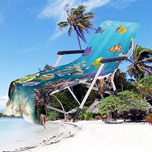 Toalla De Playa De La Serie Océano, Cubierta De Toalla De Secado Rápido Súper Absorbente, Cubierta De Silla De Playa De Microfibra, Cubierta De Silla De Piscina De Jardín De Hotel 75 * 210cm