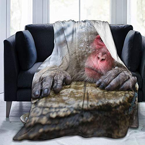 Cap pillow Fleecedecke 127 x 152,4 cm – Japanische Macaqua-Optik Steine Heim-Flanell-Fleece weich warm Plüsch Überwurf Decke für Bett/Couch/Sofa/Büro/Camping