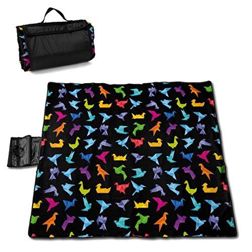 N/A Manta de Picnic Grande Impermeable al Aire Libre Origami Bird Art Japón Artesanía Esterilla de Playa a Prueba de Arena, Bolsa para Camping, Senderismo, Hierba de Viaje