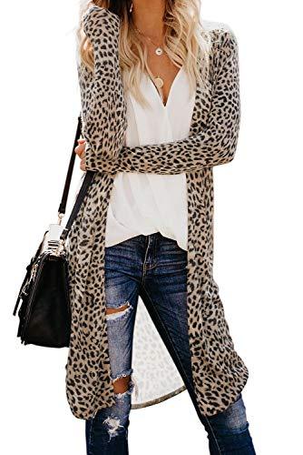 Shawhuwa Printed Cardigan Sweaters for Women Open Front Long Sleeve Knitting Loose Coat Outwear Leopard XXL