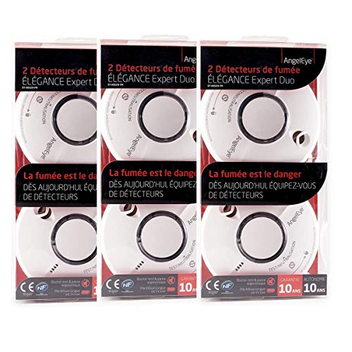 Angeleye ST-AE620-FR ST620 Expert Duo Smoke Detectors (Set of 3 x 2) - 10-Year Battery Life