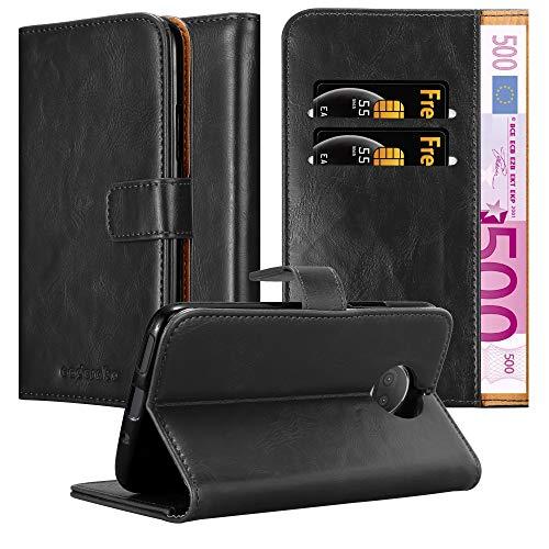 Cadorabo Hülle für Motorola Moto G5S Plus in Graphit SCHWARZ – Handyhülle mit Magnetverschluss, Standfunktion & Kartenfach – Hülle Cover Schutzhülle Etui Tasche Book Klapp Style