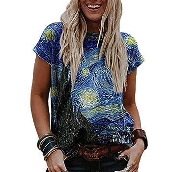 Women s Long Sleeve Pullover Van Gogh Starry Night Shirt Sky Oil Printing Long Sleeve T-Shirt  T-Shirt 2XL