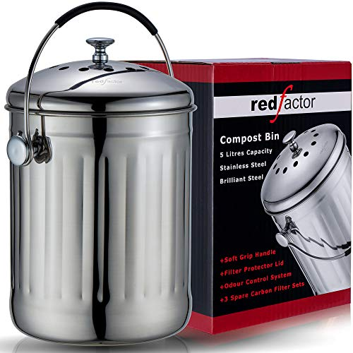 RED FACTOR Premium Seau Compost Inodore en Acier Inoxydable pour Cuisine - Poubelle Compost Cuisine - Comprend Filtres à Charbon de Rechange (INOX Brillant, 5 litres)