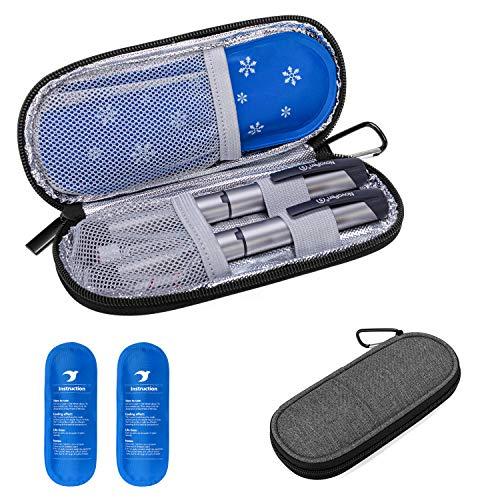 Yarwo Diabetiker Tasche mit Kühlakku für Insulin, Insulin Kühltasche für Zuckerkrank Medikamente, Reisetasche für Insulin Pen, Insulinspritzen, Insulin und Andere Diabetikerzubehör, Grau